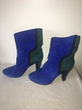 Avant Garde Vintage Ankle Boots 37 7 Blue Suede Heels New Wave Punk 80s 70s