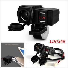 12V Waterproof Motorcycle Dual USB Phone GPS Power Socket Charger LED Voltmeter