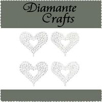 4 x 32mm Clear Diamante Hearts Vajazzle Rhinestone Self Adhesive Body Gems