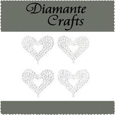 4 x 32mm Clear Diamante Hearts Vajazzle Rhinestone Self Adhesive Body Gems