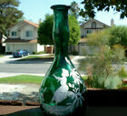 Antique (ca 1880) hand-blown emerald green Mary Gregory Cologne/ barber's bottle