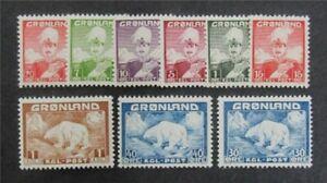 nystamps Greenland Stamp # 1-9 Mint OG H $40   Y14y266