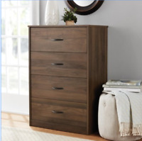 4 DRAWER DRESSER CHEST Of Drawers Bedroom Clothes Storage Cabinet WALNUT BROWN