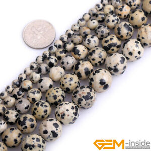 Natural Faceted Jasper Dalmatian Gems Round Loose Beads for Jewelry Making 15''