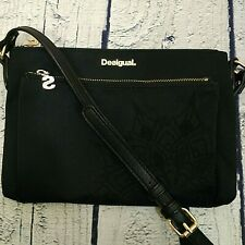 Desigual Black Embroidered Crossbody Fabric Bag Gold Tone Hardware Small