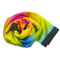 Magician Change Color Scarf Magic Trick Props Black to Rainbow Silk Stripe Q