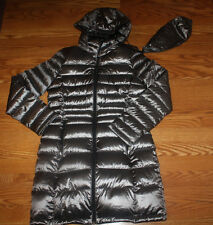 NWT Womens ANDREW MARC Gray Granite Long Hooded Puffer Duck Down Jacket Coat L