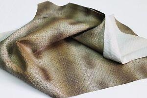Italian strong Goatskin leather skin WALNUT SNAKE PRINT EMBOSSED 5+sqf #A1846