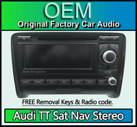 Audi TT RS Sat Nav radio stereo, Audi BNS BNO navigation unit, Code, Map Disc