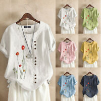 ZANZEA Women Short Sleeve Floral Embroidery Top Cotton Casual Loose Shirt Blouse