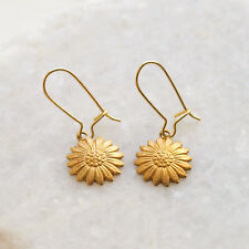 Sunflower Earrings - Sun Flower Ear Wires - Gold Raw Brass Drop Charms UK