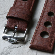 Medium brown leather 20mm rally band with Heuer watch buckle for chronograph