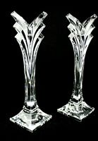 MIKASA Pair of Art Deco 24% Lead Crystal Candlesticks Holders 9.5 inch GERMANY