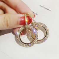 Bling Shiny Full Circle Style Rhinestone Ear Stud Earrings Elegant Women Jewelry