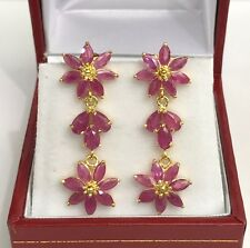 14k Solid Yellow Gold Flower Dangle Stud Earrings, Natural Ruby 5TCW. 4.14Grams