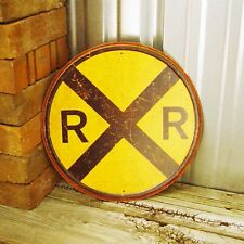 "Railroad Rail Road Yellow Crossing Metal Tin Sign Train Rustic Decor 12"" RR New"