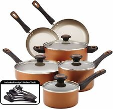 Cookware Set Pot And Pans Farberware Nonstick 15 Piece Copper Cooking Kitchen