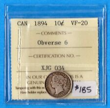 Canada 1894 Obv 6 10 Cents Ten Cent Silver Coin - ICCS VF-20