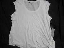 Women Jennifer Lopez Bright White Laced Up Sides Short Sleeve Top XL NWT