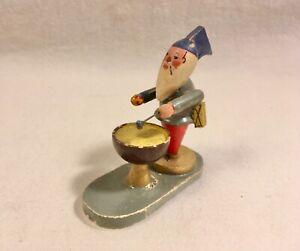 Vintage Erzgebirge Wood Miniature Man White Beard Playing Drum Germany