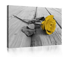 Large Mustard Yellow Grey Rose Flower Canvas Wall Art Picture Print
