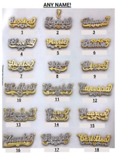 Personalized Silver and Gold Script Double Any Name Plate Necklace w/ Free Chain
