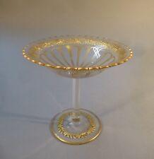 Jugendstil Tafelaufsatz Glasschale Fußschale Glas Schliff Gold hoch 18 cm um1900