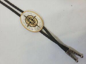 GC Ivan Steer Bolo Tie Solid Brass Southwestern Cowboy Design Braided Leather