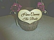 Rustic Wooden Flower Girl Basket, Purple Flowers on side Here Comes the Bride