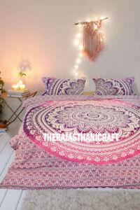 Indian Mandala Boho Pink Ombre Queen Duvet Cover Blanket Ethnic Doona Cover Set