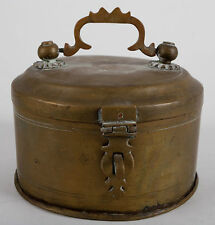 VINTAGE ANTIQUE ROUND BRASS FOOTED CHAPATI BOX DECORATIVE HARDWARE INDIA
