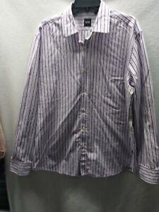 Hugo Boss Size XXL Long Sleeved Purple Striped Button-down Shirt