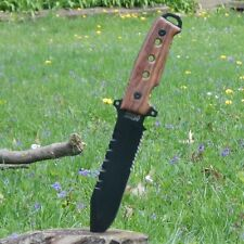 "12"" Mtech Xtreme Fixed Blade Tactical Knife Brown Wood Handle w/ Molle Sheath"