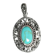 Marcasite Pendant Sterling Silver 925 Vintage Style Jewelry Turquoise 41 mm