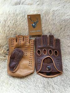 Fingerless Driving Leather Gloves Deerskin Men's car glove Cognac Tan