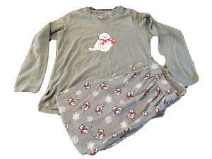 Ladies M&Co Winter Pyjams Set U.K. 10-12 Grey Bear/Snowflakes Fleece Feel T291