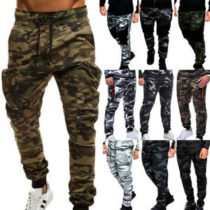 Men Camo Cargo Combat Trousers Gym Sports Joggers Jogging Track Pants Casual