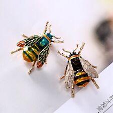 Vintage Enamel Bumble Bee Crystal Brooch Pin Costume Badge Womens Jewellery Gift