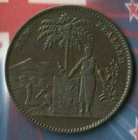 1881 New Zealand ULTRA RARE VARIATION of Milner & Thompson Penny Token- NICE~