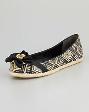 Vera Wang Lavender Eri Basketweave Raffia Espadrille Flat Black/Natural Sz6M NEW