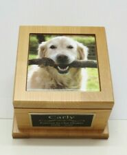 Dog Urn Pet Urn with Custom Tile Photo & Personalized Engraved Tag Red Alder