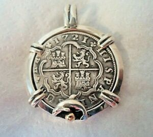 Genuine 1721 2 Reales Silver Spanish Treasure Cob Coin With 14K Accent