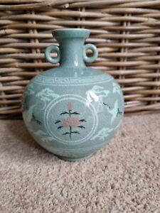 Vintage Korean Celadon Crane Decorative Signed Crackle Glaze Ewer Jug