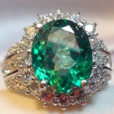 RARE! BIG 7.10 ct NATURAL UNHEATED GREEN TOPAZ RING 925 STERLING SILVER.S-E 6.25