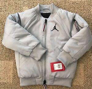 Nike Air Jordan Boys Size 6 Sportswear Wings MA-1 Bomber Jacket Coat Gray 854369
