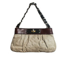 Marc Jacobs Clutch Bag Tote Leather Beige Brown Evening Handbag Chain Strap