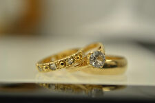 9ct Gold Miniature Wedding Ring Set Charm