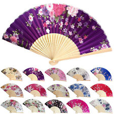 Vintage Bamboo Folding Hand Held Flower Fan Chinese Dance Party Pocket Gifts HI