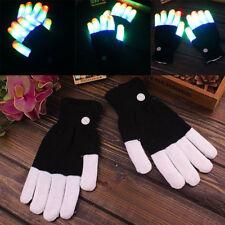 1Paar Cool LED Rave Flashing Glow Mode Light Up Finger Lighting Gloves New^~