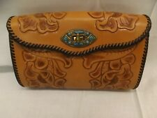 Couture UNUSED Vtg Hand Tooled Real Leather Turquoise Clasp Clutch Handbag Purse